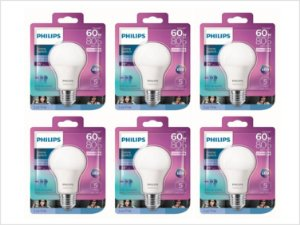Kit 6 Lâmpadas Led Bulbo 9w Dimerizável Philips 6500k Frio