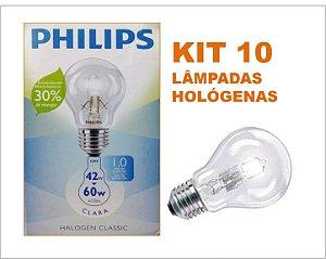 Kit 10 Lâmpadas Halogenas 42W E27 Branco Quente  220V PHILIPS