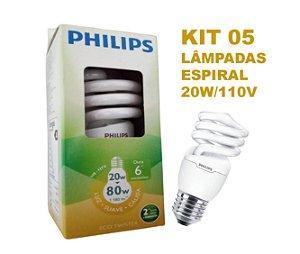 Kit 05 Lâmpadas em Espiral 20W E27 Branco Quente 110 V PHILIPS