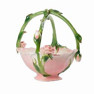 Cesta de porcelana flores