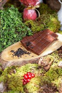 Chocolate meio amargo com chá Earl grey blue flower