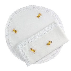 Jogo americano com guardanapo de linho - bordado de abelhas