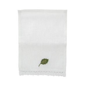 Mini guardanapo de linho (02 lugares) - bordado de folha