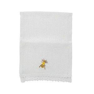 Mini guardanapo de linho (02 lugares) - bordado de abelha