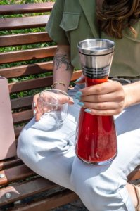 Jarra de vidro com Filtro de Aço Inox