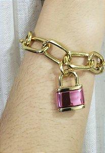 Pulseira Color People Dourado Pingente Cadeado Pink Gloss