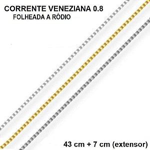 CORRENTE VENEZIANA BANHADA A RÓDIO BRANCO 43 CM + 7,0 CM EXTENSOR