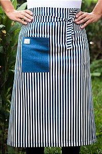 Avental de Cintura Listrado Bolso Azul