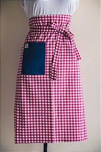 Avental de Cintura Xadrez Rosa com Bolso Jeans