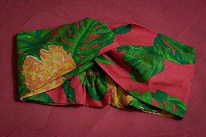 Faixa de Cabelo Abacaxi fundo Rosa