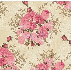 Tricoline Floral Amor Perfeito (Rosa), 100% Algodão, Unid. 50cm x 1,50mt