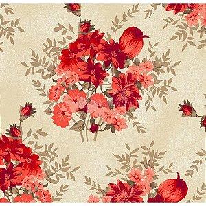 Tricoline Floral Amor Perfeito (Vermelho), 100% Algodão, Unid. 50cm x 1,50mt