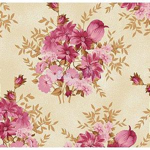 Tricoline Floral Amor Perfeito (Rosé), 100% Algodão, Unid. 50cm x 1,50mt