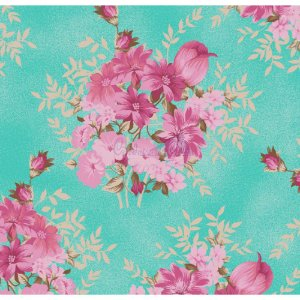 Tricoline Floral Amor Perfeito (Tiffany), 100% Algodão, Unid. 50cm x 1,50mt