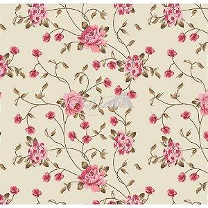 Tricoline Floral Ramos (Bege e Rosa), 100% Algodão, Unid. 50cm x 1,50mt