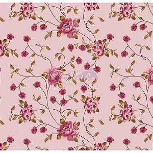 Tricoline Floral Ramos (Rosé), 100% Algodão, Unid. 50cm x 1,50mt