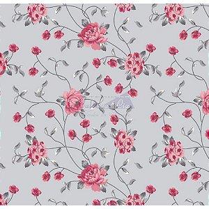 Tricoline Floral Ramos (Cinza com Rosa), 100% Algodão, Unid. 50cm x 1,50mt
