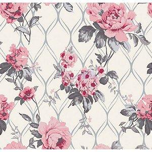 Tricoline Rosa Imperial (Cinza com Rosa), 100% Algodão, Unid. 50cm x 1,50mt