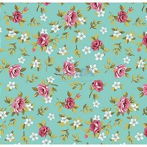 Tricoline Estampado Floral Lúcia Cor - 17 (Tiffany com Rosa), 100% Algodão, Unid. 50cm x 1,50mt