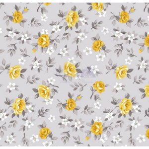 Tricoline Estampado Floral Lúcia Cor - 16 (Cinza com Amarelo), 100% Algodão, Unid. 50cm x 1,50mt