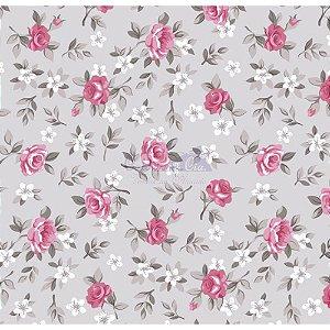 Tricoline Estampado Floral Lúcia Cor - 15 (Cinza com Rosa), 100% Algodão, Unid. 50cm x 1,50mt
