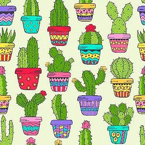 Tricoline Digital Cactus Color, 100% Algodão, Unid. 50cm x 1,50mt