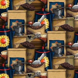 Tricoline Digital Empório de Café, 100% Algodão, Unid. 50cm x 1,50mt