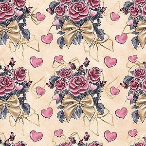 Tricoline Digital Bouquet, 100% Algodão, Unid. 50cm x 1,50mt