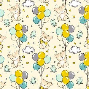 Tricoline Estampado Teddy Balloons, 100% Algodão, Unid. 50cm x 1,50mt
