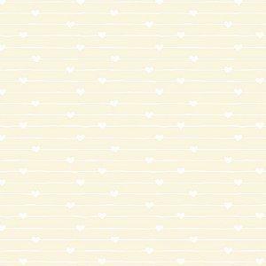 Tricoline Estampado Varal de Corações Creme, 100% Algodão, Unid. 50cm x 1,50mt