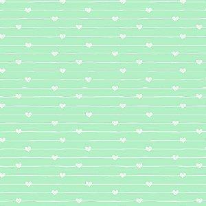 Tricoline Estampado Varal de Corações Azul Cotton, 100% Algodão, Unid. 50cm x 1,50mt