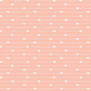 Tricoline Estampado Varal de Corações Rosa Cotton, 100% Algodão, Unid. 50cm x 1,50mt