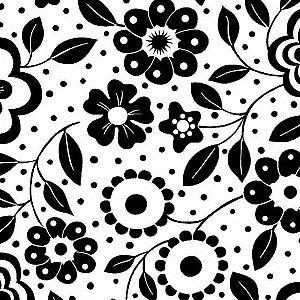 Tecido Tricoline Floral Preto e Branco, 100% Algodão, Unid. 50cm x 1,50mt