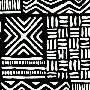 Tecido Tricoline África Preto e Branco, 100% Algodão, Unid. 50cm x 1,50mt