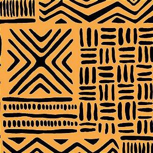 Tecido Tricoline África Mostarda, 100% Algodão, Unid. 50cm x 1,50mt