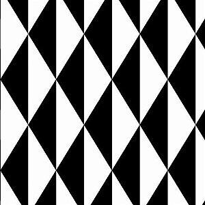 Tecido Tricoline Geométrico Preto e Branco, 100% Algodão, Unid. 50cm x 1,50mt