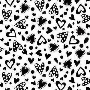Tecido Tricoline Corações Preto e Branco, 100% Algodão, Unid. 50cm x 1,50mt
