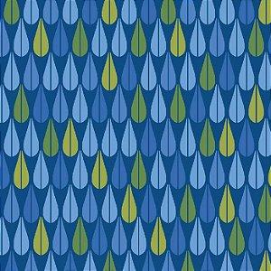Tricoline Bohêmia Gotas Fundo Azul, 100% Algodão, Unid. 50cm x 1,50mt