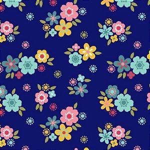 Tricoline Florescer Florzinha Fundo Azul, 100% Algodão, Unid. 50cm x 1,50mt