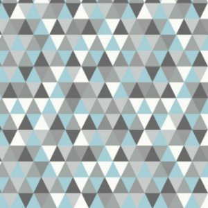 Tricoline Geométrico (triangulo Azul e Cinza), 100% Algodão, Unid. 50cm x 1,50mt