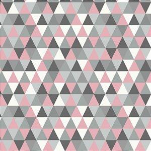 Tricoline Geométrico (triangulo Rosa e Cinza), 100% Algodão, Unid. 50cm x 1,50mt