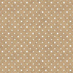 Tecido Tricoline Poá e Quadradinhos Bege, 100% Algodão, Unid. 50cm x 1,50mt