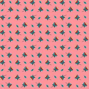 Tricoline Estampado Mini Flores Rose, 100% Algodão, Unid. 50cm x 1,50mt