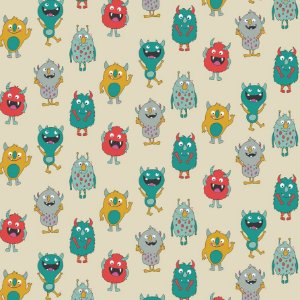 Tricoline Estampado Mini Monsters, 100% Algodão, Unid. 50cm x 1,50mt