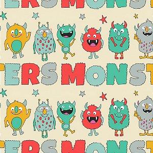 Tricoline Estampado Monsters Names, 100% Algodão, Unid. 50cm x 1,50mt