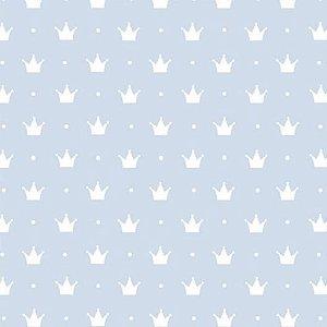 Tecido Tricoline Coroa Pequena Fundo Azul BB, 100% Algodão, Unid. 50cm x 1,50mt