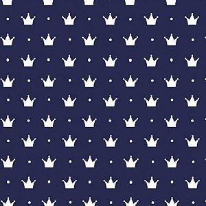 Tecido Tricoline Coroa Pequena Fundo Marinho, 100% Algodão, Unid. 50cm x 1,50mt