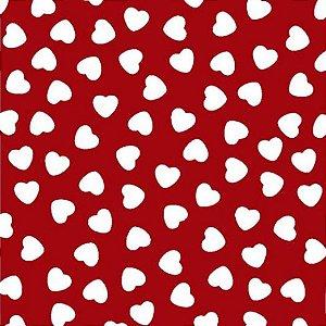 Tecido Tricoline Coração Branco Fundo Vermelho, 100% Algodão, Unid. 50cm x 1,50mt