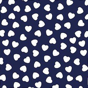 Tecido Tricoline Coração Branco Fundo Marinho, 100% Algodão, Unid. 50cm x 1,50mt