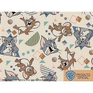 Tecido Tricoline Personagem Tom e Jerry Fundo Bege, 100% Algodão, Unid. 50cm x 1,50mt